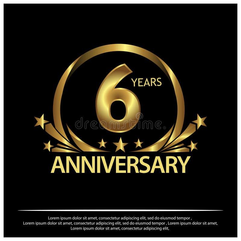 Sechs Jahre Jahrestag golden Jahrestagsschablonenentwurf für Netz, Spiel, kreatives Plakat, Broschüre, Broschüre, Flieger, Zeitsc vektor abbildung