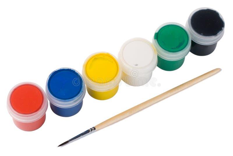 Sechs Lacke und Malerpinsel stockfotografie