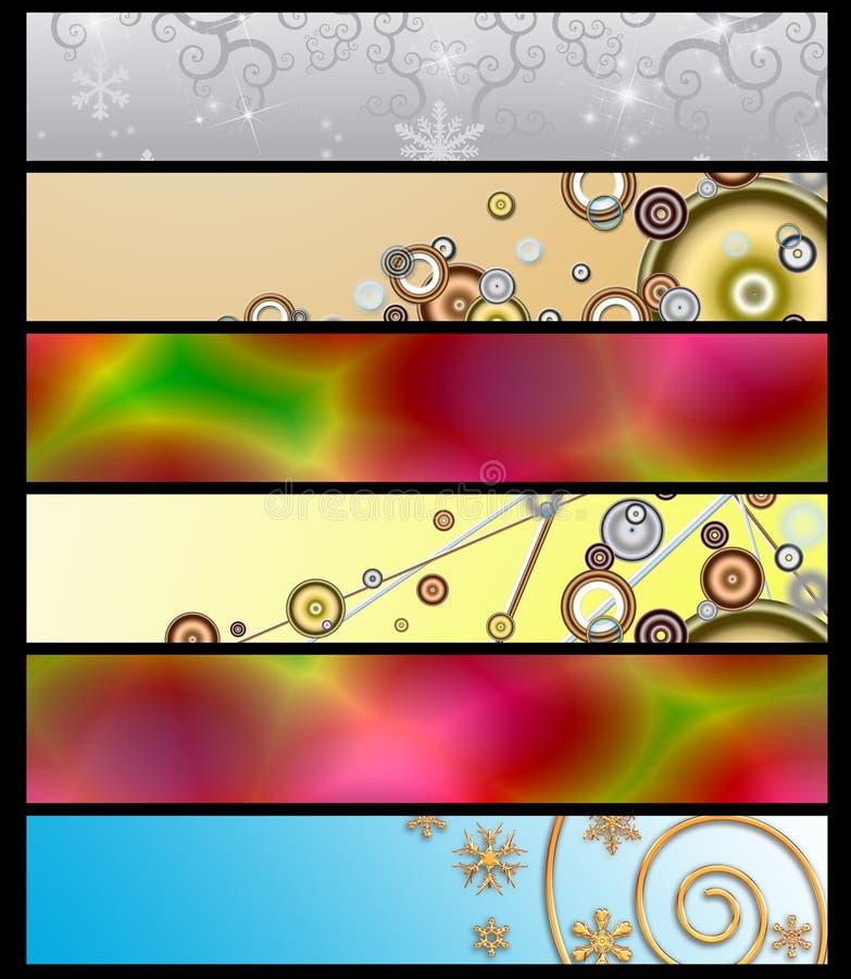 Sechs mehrfarbige Fahnen 10 vektor abbildung
