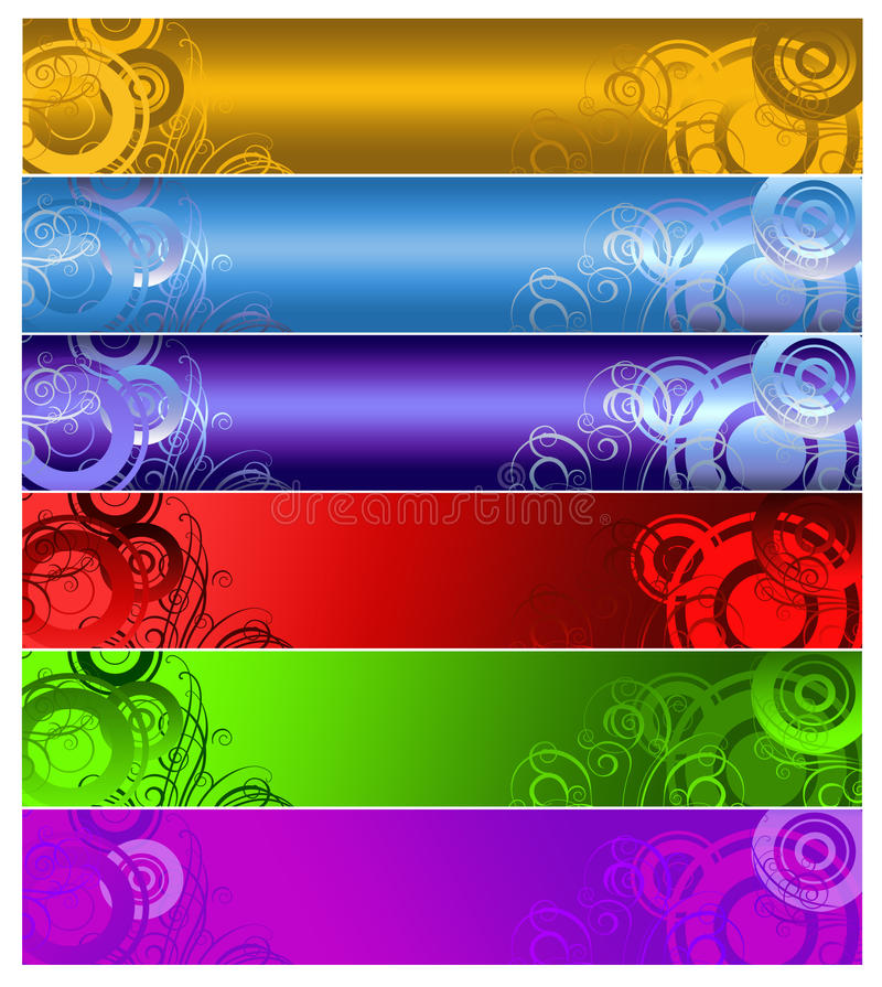 Sechs mehrfarbige Fahnen lizenzfreie abbildung