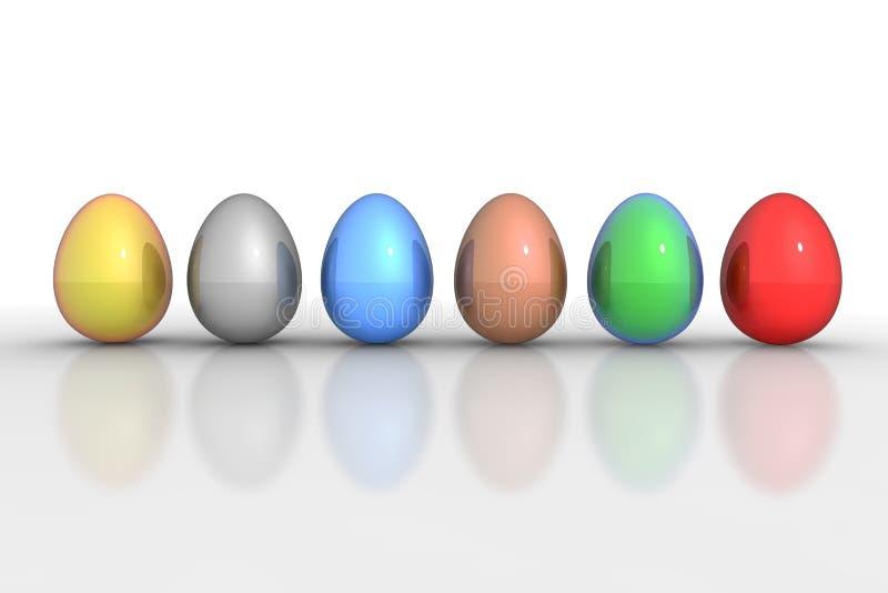 Sechs metallische Eier in einer Zeile - bunte Mischung lizenzfreie abbildung