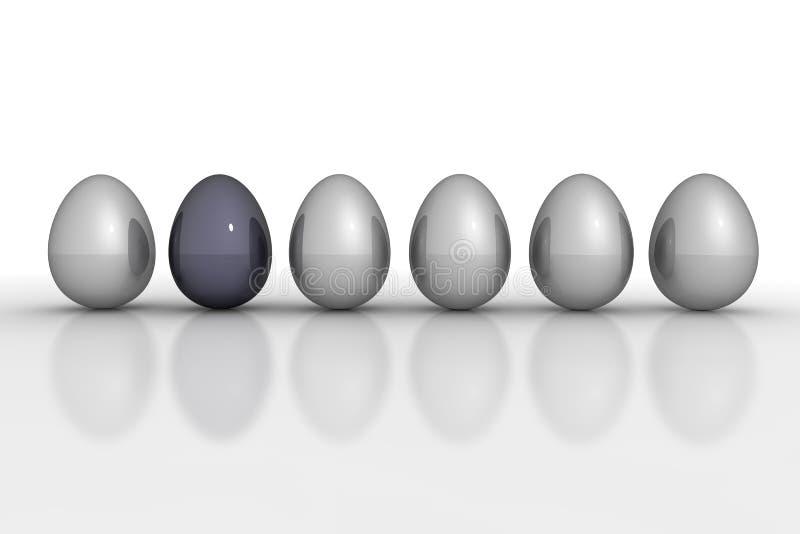 Sechs metallische Eier in einer Zeile - Grau und Schwarzes vektor abbildung
