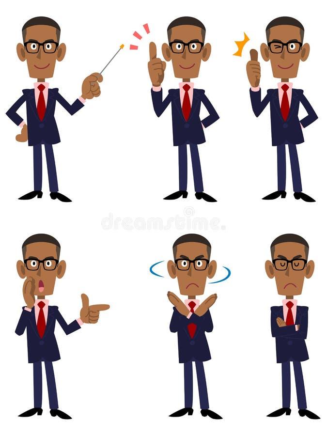 Sechs Musterhaltungen und Aktionen des afrikanischen Geschäftsmannes vektor abbildung