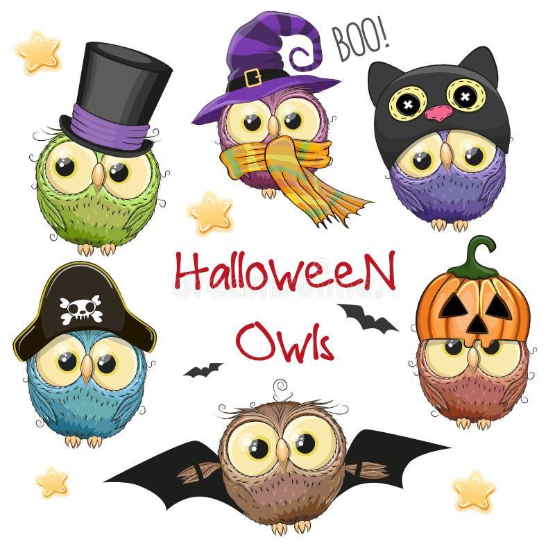 Sechs nette Halloween-Eulen stock abbildung