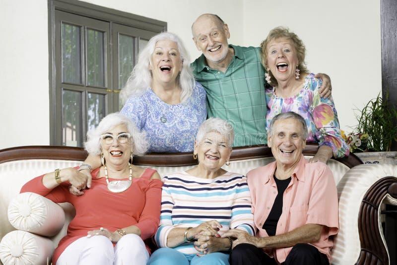 Sechs nettes älteres Freund-Lachen lizenzfreie stockbilder