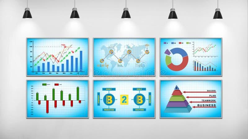 Sechs Schirm mit Entwurf der wirtschaftlichen Entwicklung stock abbildung