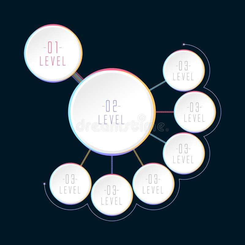 Sechs Schritt Infographics, Kreisformen, mehrstufiges Hierarchie infographics stock abbildung