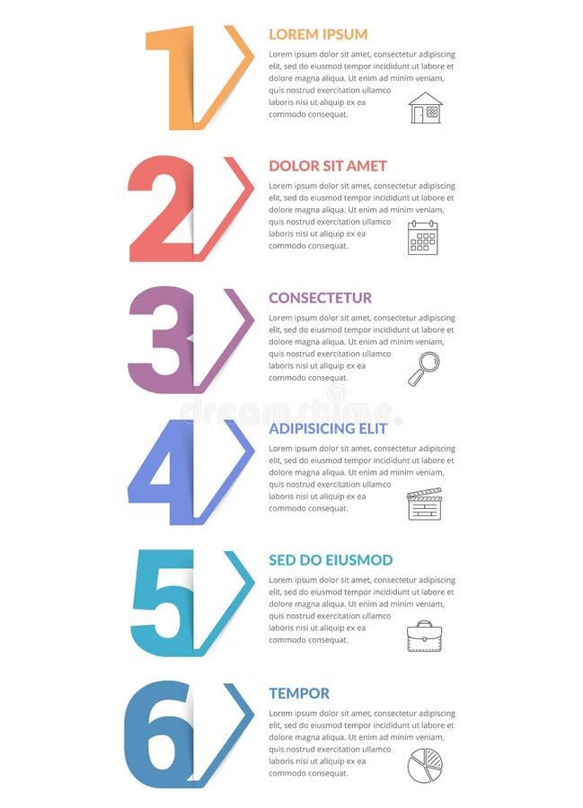 Sechs Schritte - Infographic-Schablone vektor abbildung