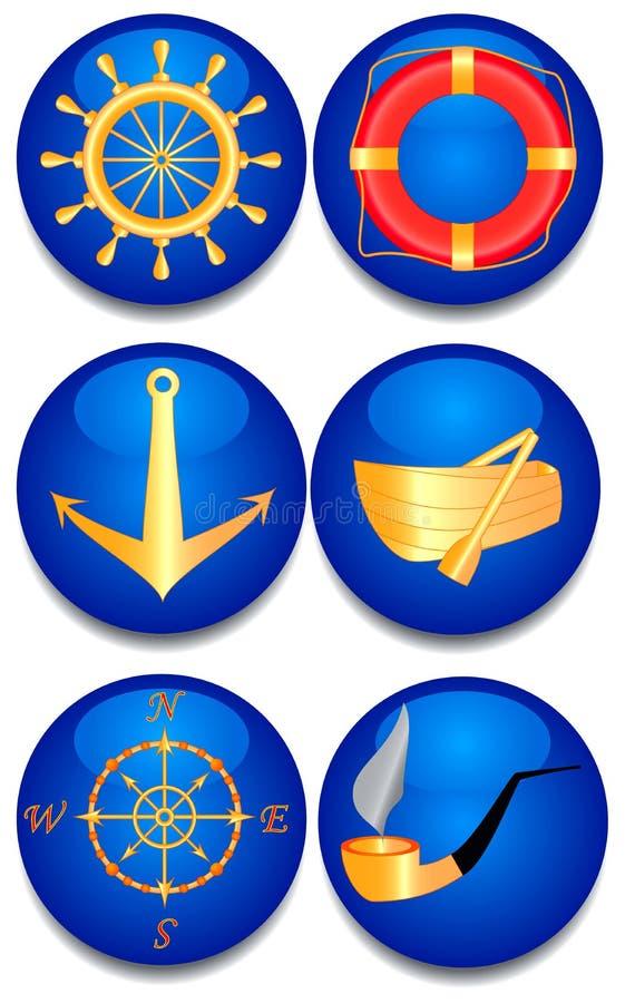 Sechs Seezeichen. lizenzfreie abbildung