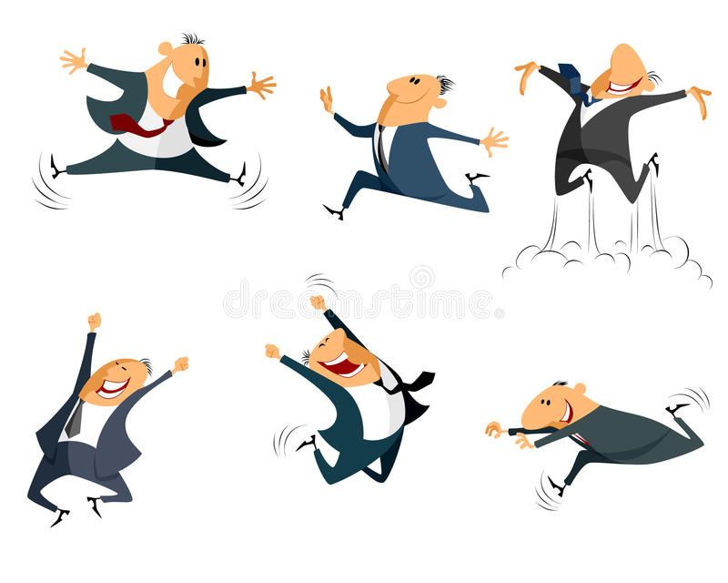 Sechs springende Geschäftsmänner stock abbildung
