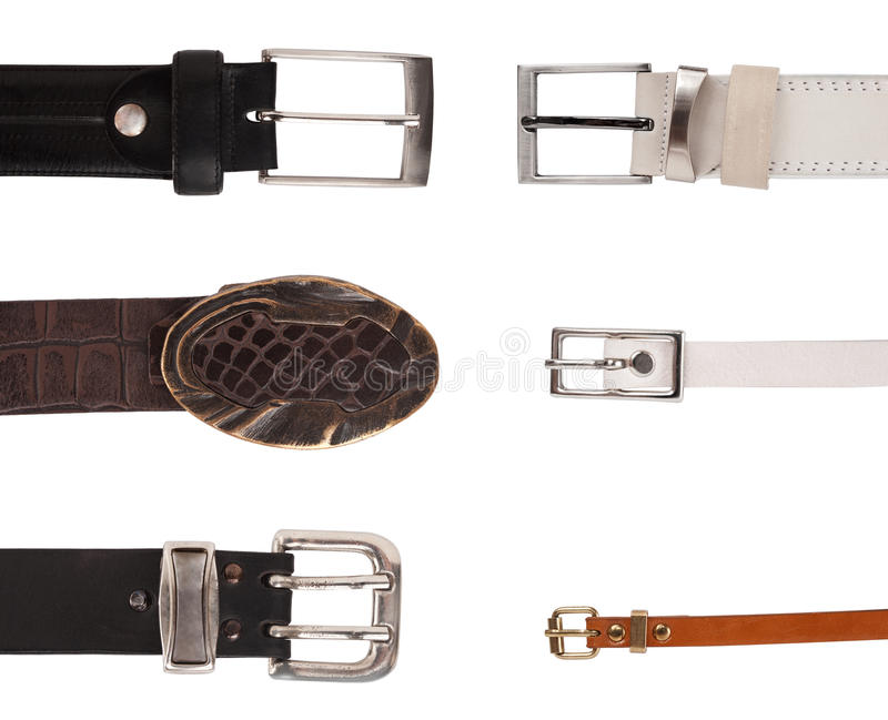 Sechs verschiedene Schnallen lizenzfreie stockbilder