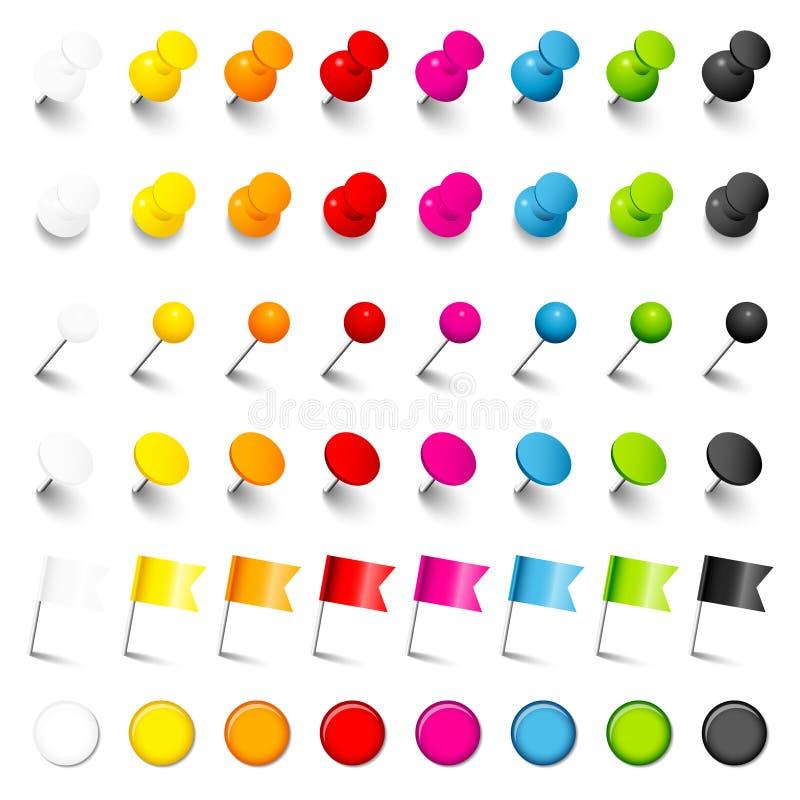 Sechs verschiedene Stiftnadel-Flaggen und Magneten mit Farben des Schatten-acht stock abbildung