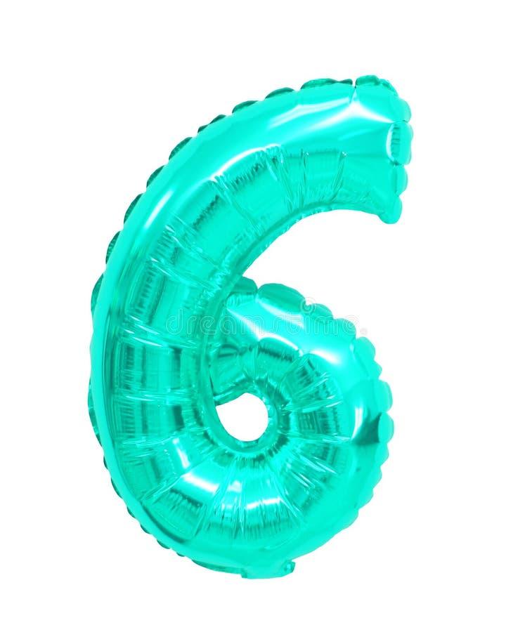 Sechs von der Ballontürkisfarbe lizenzfreies stockbild