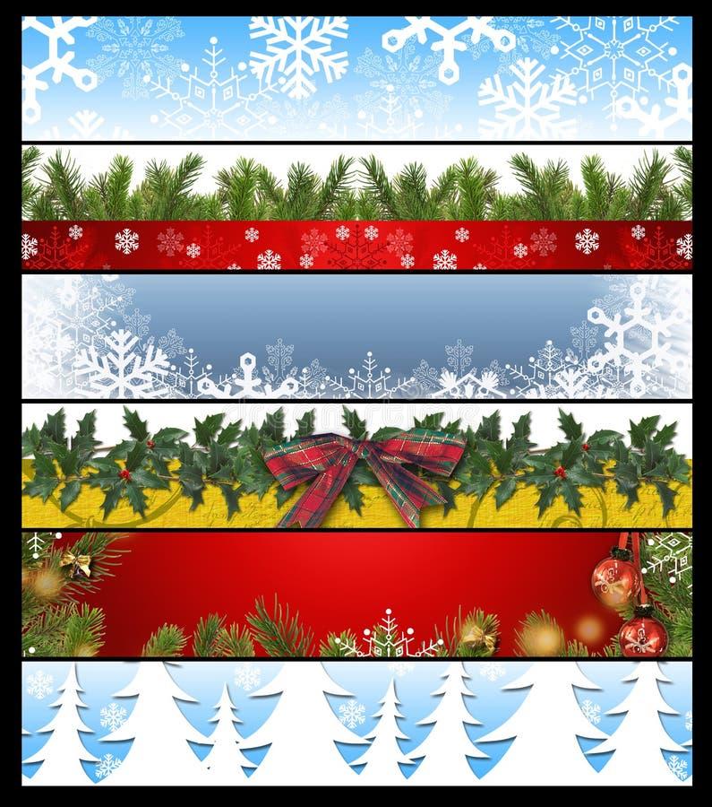 Sechs Weihnachtsfahnen 14 vektor abbildung