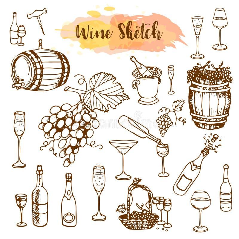 Sechs Weinflaschen und sieben Gläser für weißen Wein Weinproduktionsprodukte in der Skizzenart Hand gezeichnete alkoholische Getr vektor abbildung