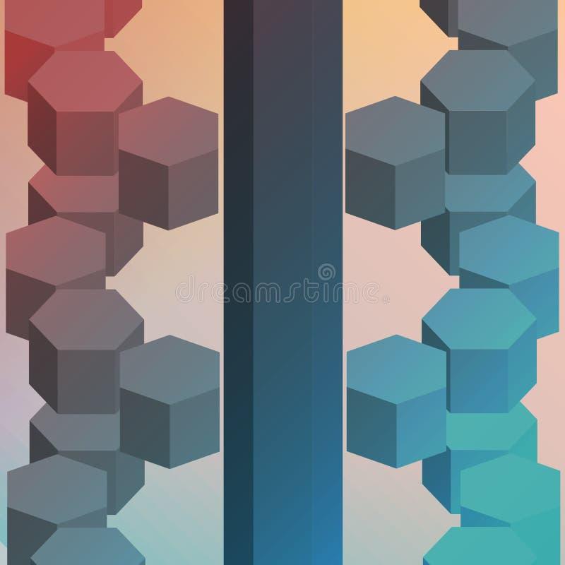 Sechseckige isometrische Zusammenfassung stockbilder