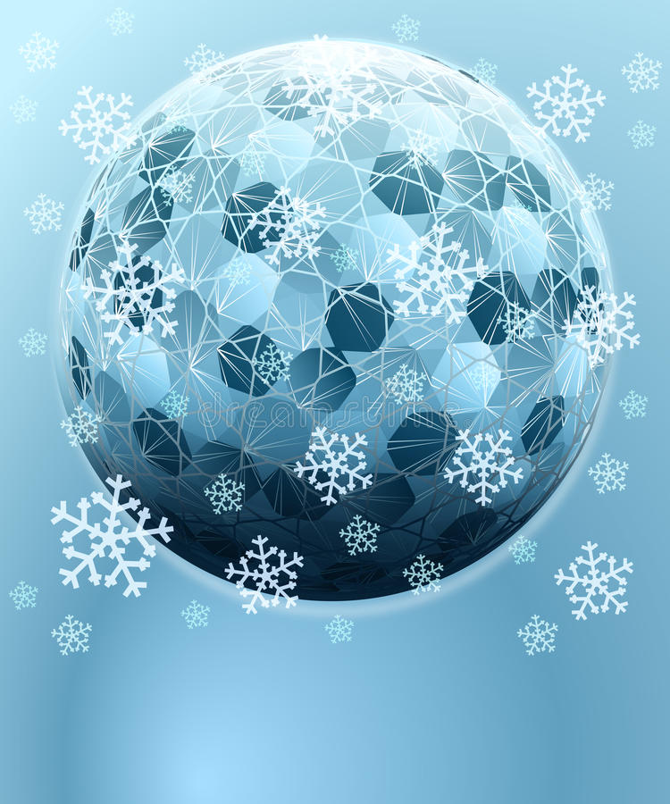 Download Sechseckige Kugel Des Blauen Winters Mit Schneekarte Vektor Abbildung - Illustration von dezember, januar: 27732099