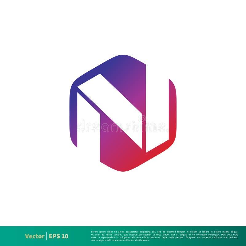 Sechseckiger n-Buchstabe Logo Template Illustration Design Vektor ENV 10 lizenzfreie abbildung