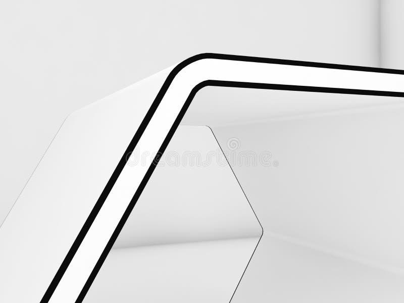 Sechseckiger Stand mit schwarzer Kontur 3d vektor abbildung