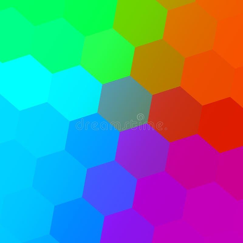 Sechseckiges Farbspektrum Bunter abstrakter Hintergrund Einfache geometrische Kunst Kreatives Mosaik-Muster Farbgrafik Digital stock abbildung