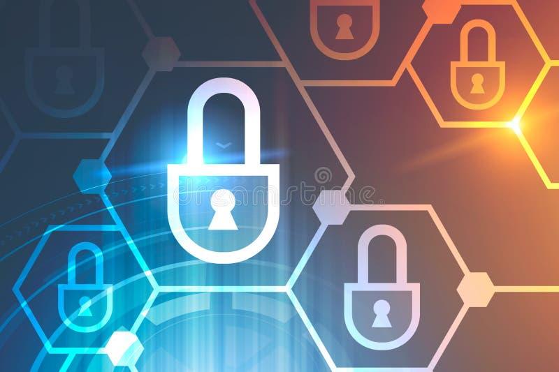 Sechseckiges Internetsicherheitskonzept, hud stock abbildung
