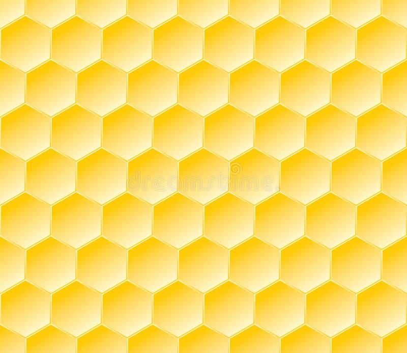 Sechseckiges nahtloses geometrisches Muster mit Bienenwaben lizenzfreie abbildung