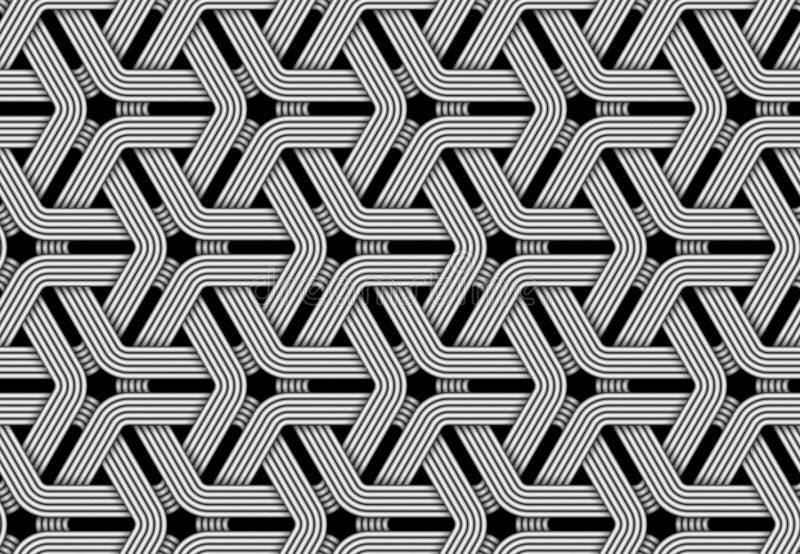 Sechseckiges nahtloses Muster des Vektors der gesponnenen Faser stock abbildung