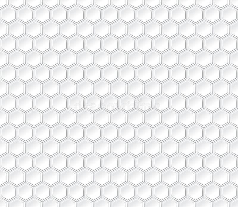Sechseckiges nahtloses Vektormuster Hellgraues Hexagon mit Effekt 3d stock abbildung