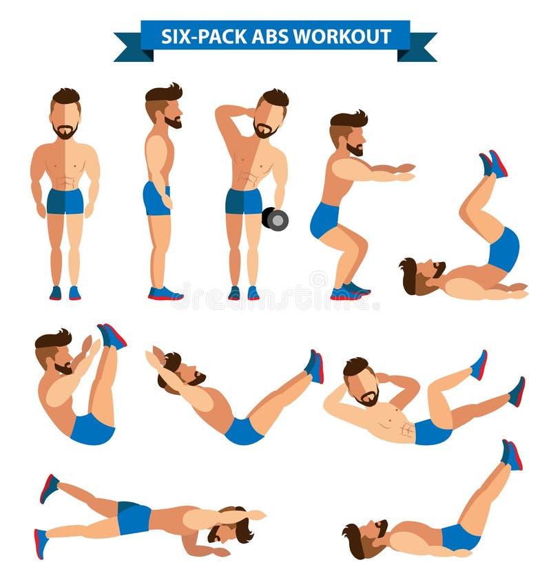 Sechserpack-ABS-Training für Männer stock abbildung