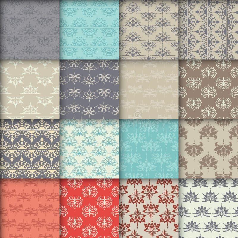 Sechzehn nahtlose Muster mit Lotos lizenzfreie abbildung