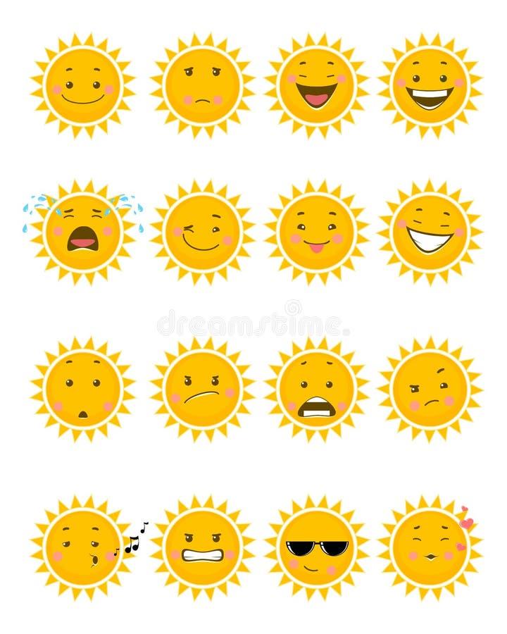 Sechzehn Sonne emojis lizenzfreie abbildung