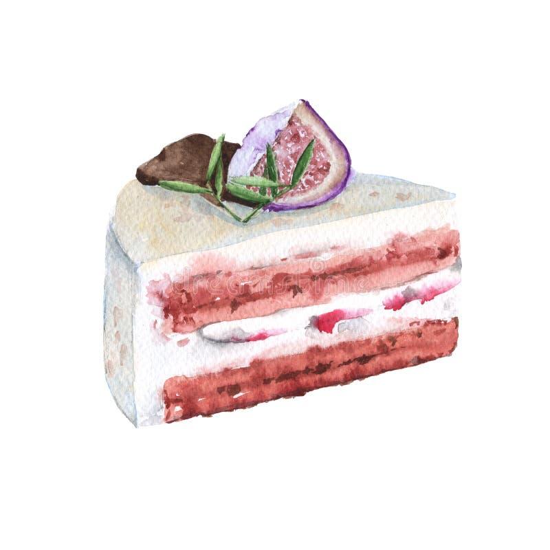 Secional cremoso do bolo com bagas e chocolate Ilustração da aguarela ilustração royalty free
