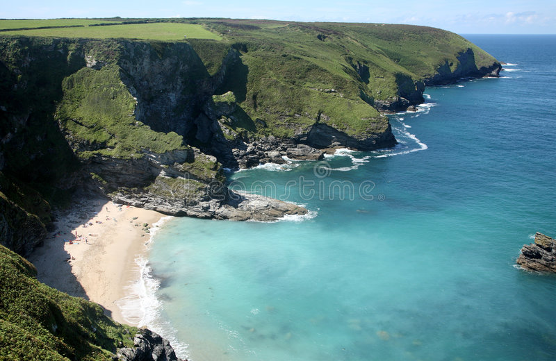 Secluded beach. The secluded beach at Fishing Cove and Navax Point, Cornwall, UK royalty free stock photography