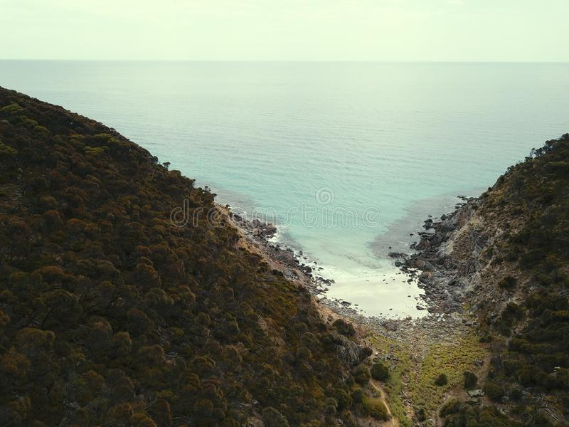 Secluded Beach From the Air. With a mavic pro. Hours of difficult maneveurs and lining up went into this shot. Shot down near Flinders Chase National Park stock image