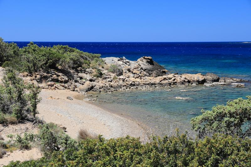 Secluded beach. Coast of Crete island in Greece. Secluded beach in Paleochora royalty free stock photos