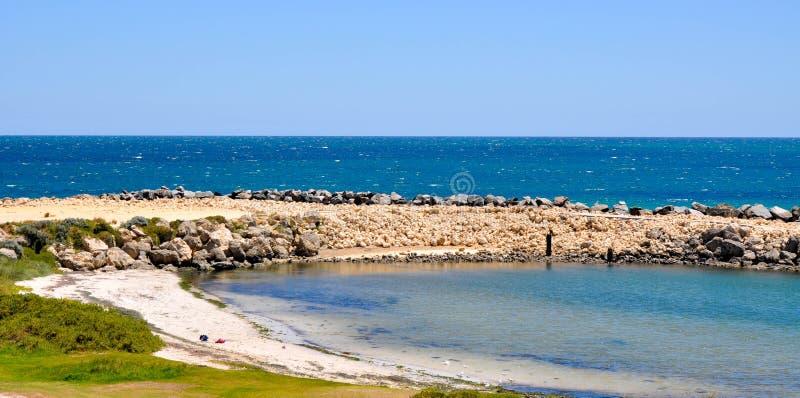Secluded Beach: Hillarys, Western Australia. HILLARYS,WA,AUSTRALIA-JANUARY 22,2016: Secluded beach inlet and rocky groyne with Indian Ocean seascape in Hillarys stock photo