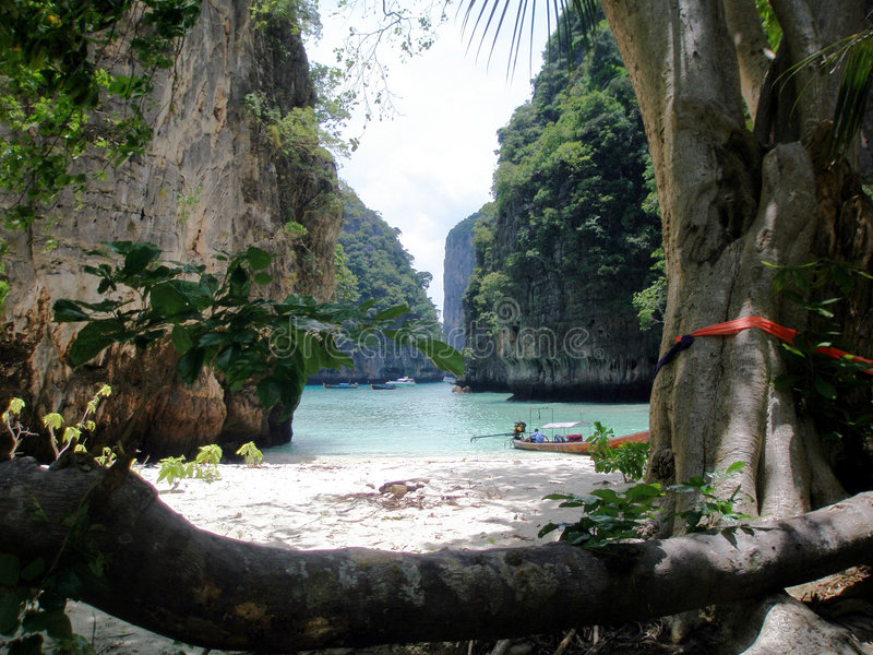 Secluded Beach, Thailand stock images