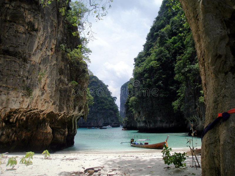 Secluded Beach, Thailand. View from a secluded beach on Koh Phi Phi Leh (an uninhabited island neighbouring Koh Phi Phi Don which is inhabited), Thailand stock image