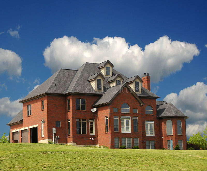 Secluded Brick Mansion stock photo