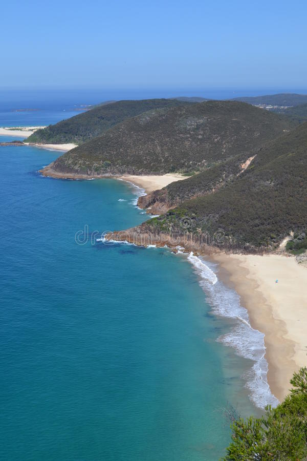Secluded empty beaches. Aerial view of a string of secluded beaches, Nelson Bay, Australia stock image