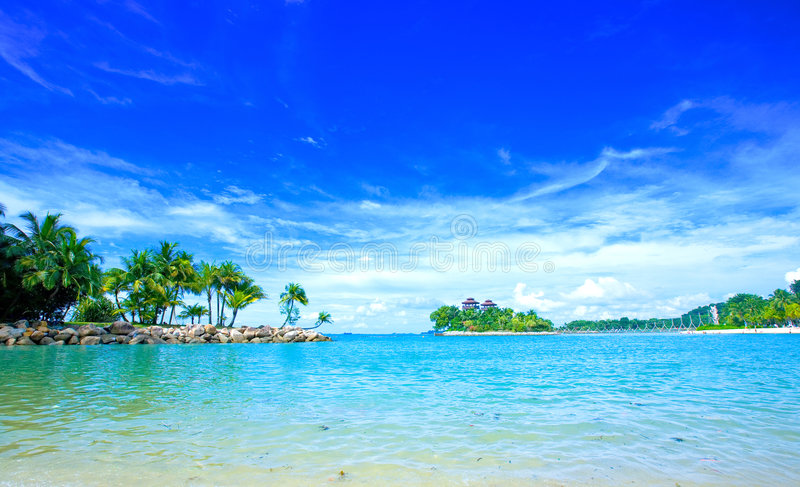 Secluded lagoon with clear blue sky stock image