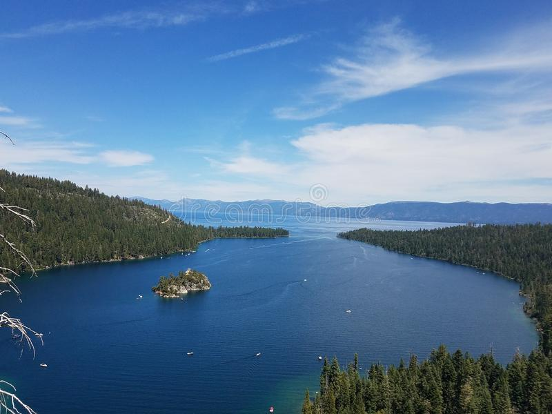 Secluded lake island. Blue, views royalty free stock image