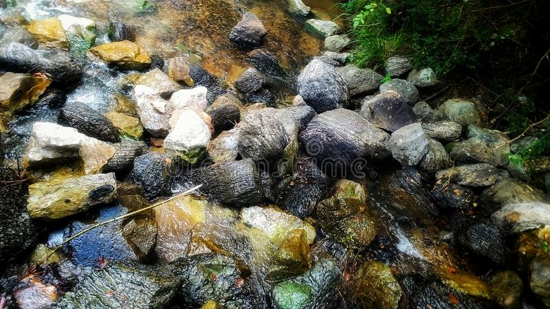 The Secluded paradise falls. Waterfall, rocks, greenery, lovely, creek, river stock photos