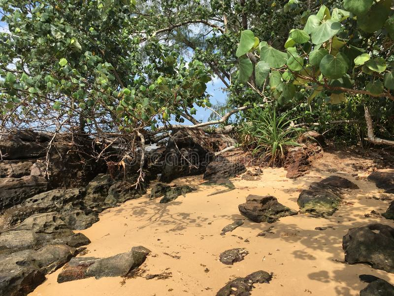Secluded place on the beach. Of Phu Quoc island in Vietnam . March of 2018 stock photo