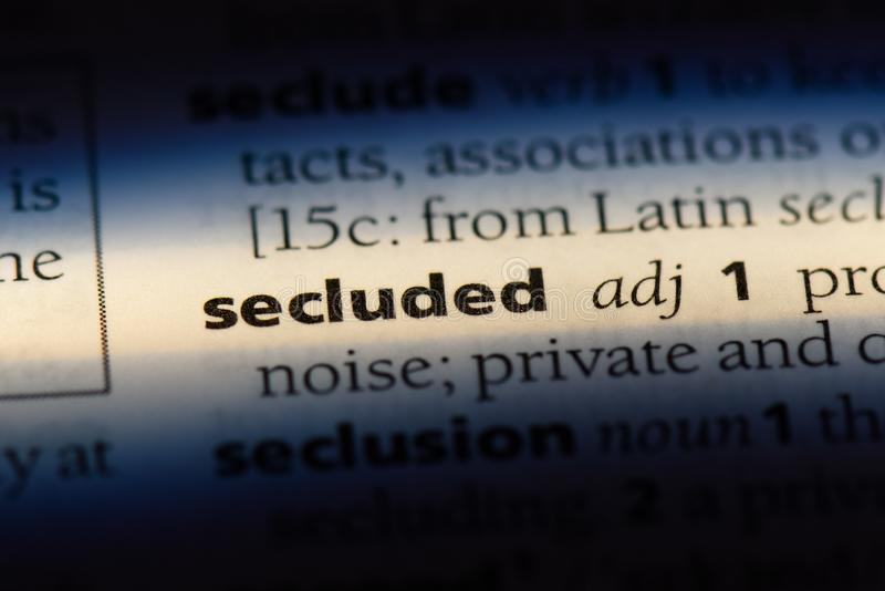 Secluded. Word in a dictionary.  concept royalty free stock photos