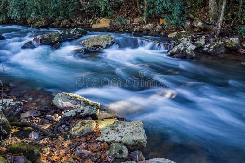 Secluded Wild Mountain Trout Stream. A secluded wild mountain trout stream located in Jefferson National Forest, Giles County, Virginia, USA royalty free stock photography