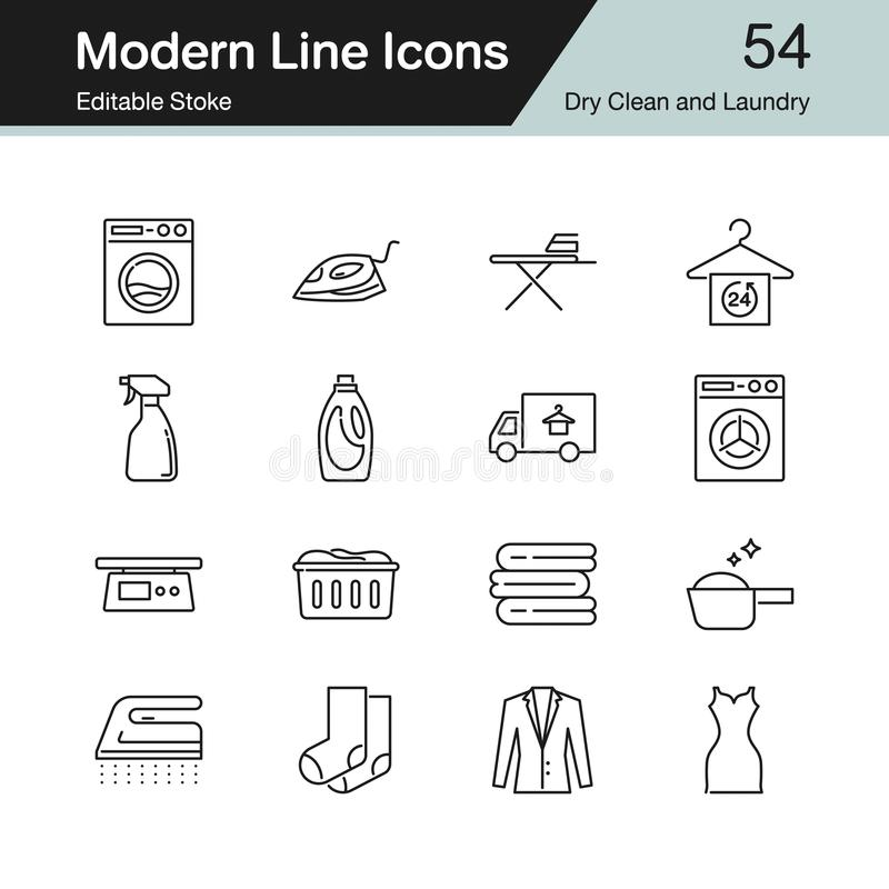 Seco ícones limpe e do lavanderia A linha moderna projeto ajustou 54 Para pres ilustração do vetor