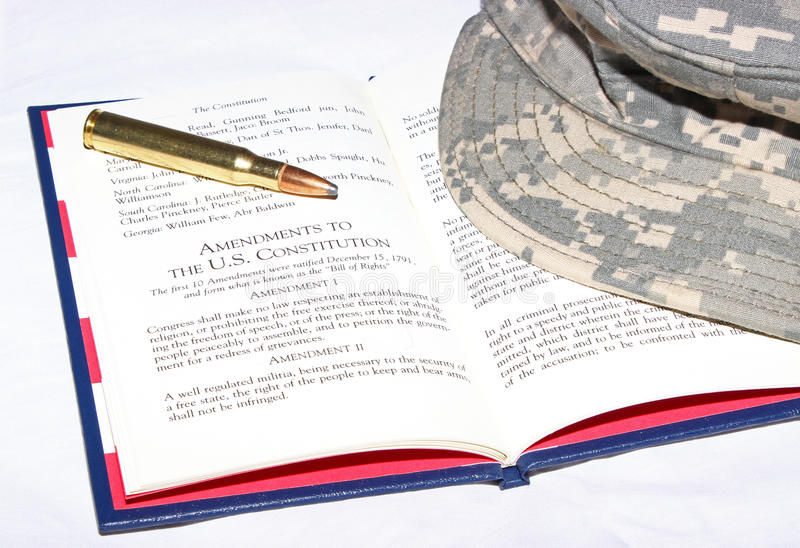 Second Amendment. The second amendment of the Constitution of the United States of America granting the right to keep and bear arms royalty free stock photo