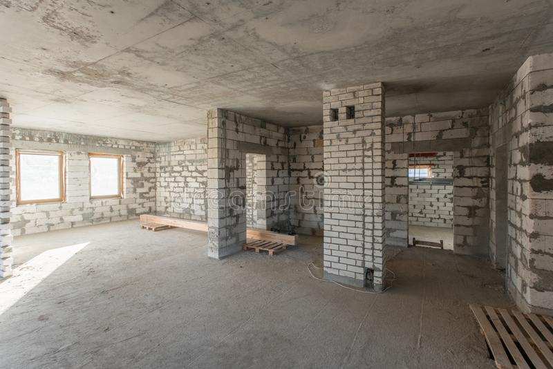 The second attic floor of the house. overhaul and reconstruction. Working process of warming inside part of roof. House. Or apartment is under construction royalty free stock photos