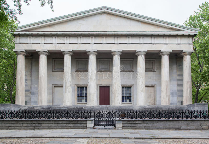 Second Bank of the United States. The facade of the Second Bank of the United States with its greek temple like facade with doric columns in Philadelphia royalty free stock images